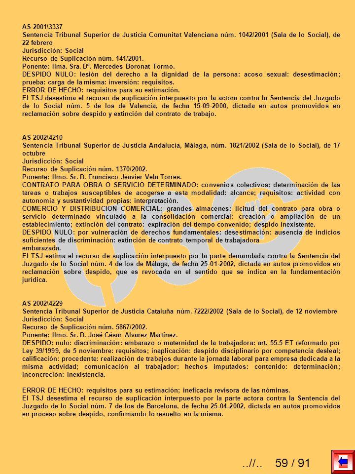 AS 2001\3337 Sentencia Tribunal Superior de Justicia Comunitat Valenciana núm. 1042/2001 (Sala de lo Social), de 22 febrero.