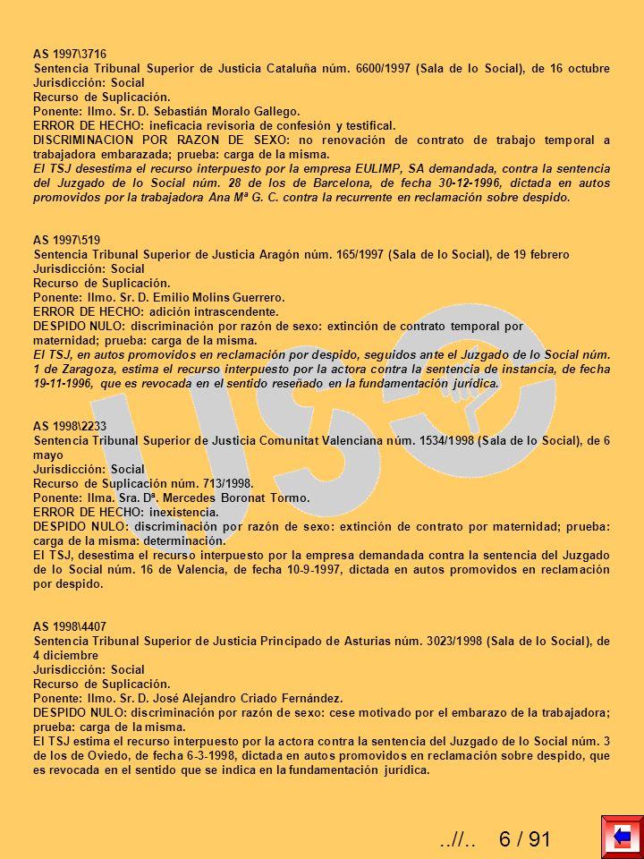 AS 1997\3716 Sentencia Tribunal Superior de Justicia Cataluña núm. 6600/1997 (Sala de lo Social), de 16 octubre Jurisdicción: Social.