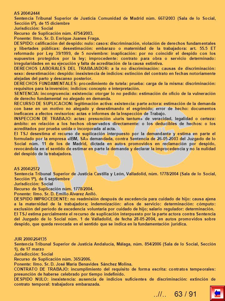 AS 2004\2444Sentencia Tribunal Superior de Justicia Comunidad de Madrid núm. 667/2003 (Sala de lo Social, Sección 6ª), de 15 diciembre.