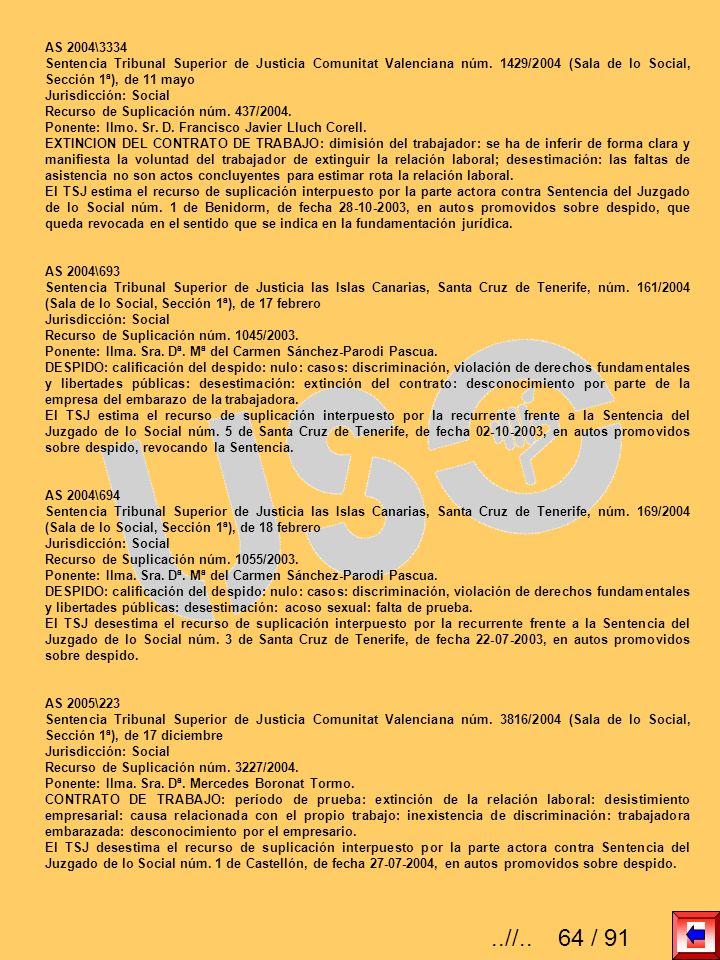AS 2004\3334 Sentencia Tribunal Superior de Justicia Comunitat Valenciana núm. 1429/2004 (Sala de lo Social, Sección 1ª), de 11 mayo.