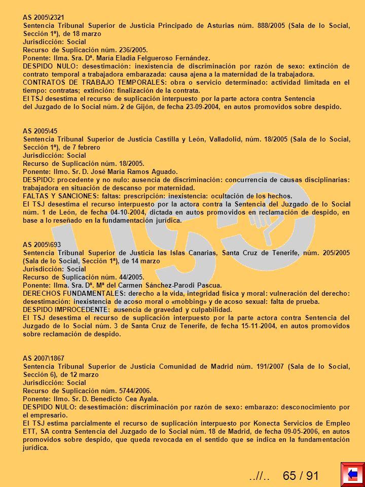 AS 2005\2321 Sentencia Tribunal Superior de Justicia Principado de Asturias núm. 888/2005 (Sala de lo Social, Sección 1ª), de 18 marzo.