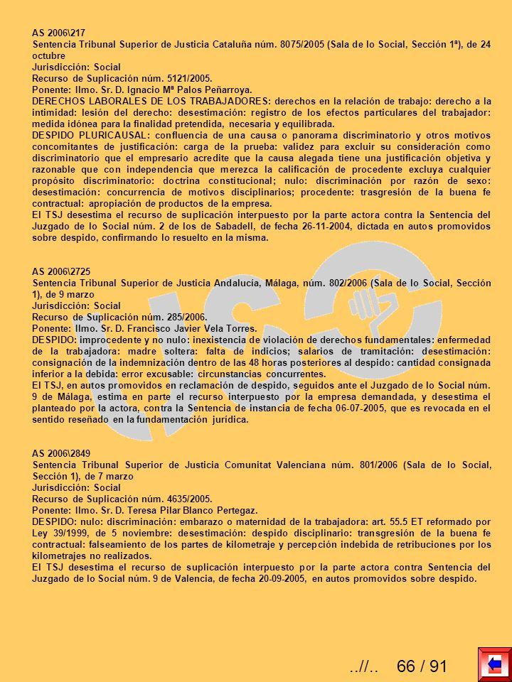 AS 2006\217Sentencia Tribunal Superior de Justicia Cataluña núm. 8075/2005 (Sala de lo Social, Sección 1ª), de 24 octubre.