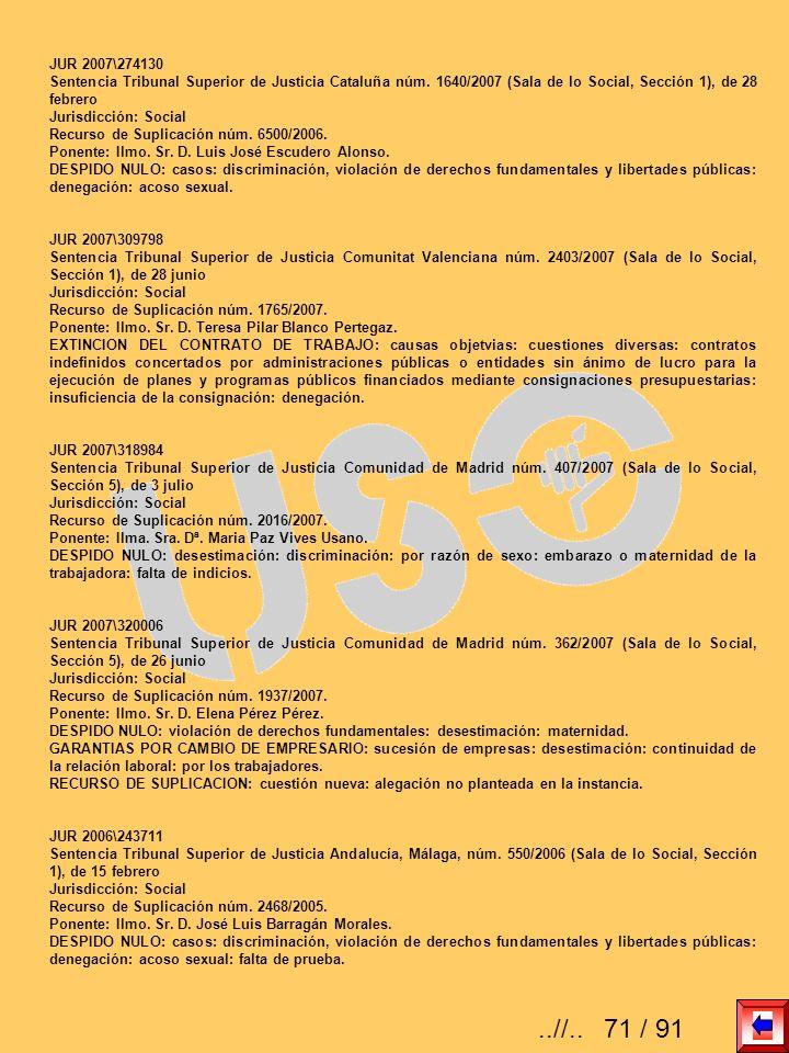 JUR 2007\274130Sentencia Tribunal Superior de Justicia Cataluña núm. 1640/2007 (Sala de lo Social, Sección 1), de 28 febrero.