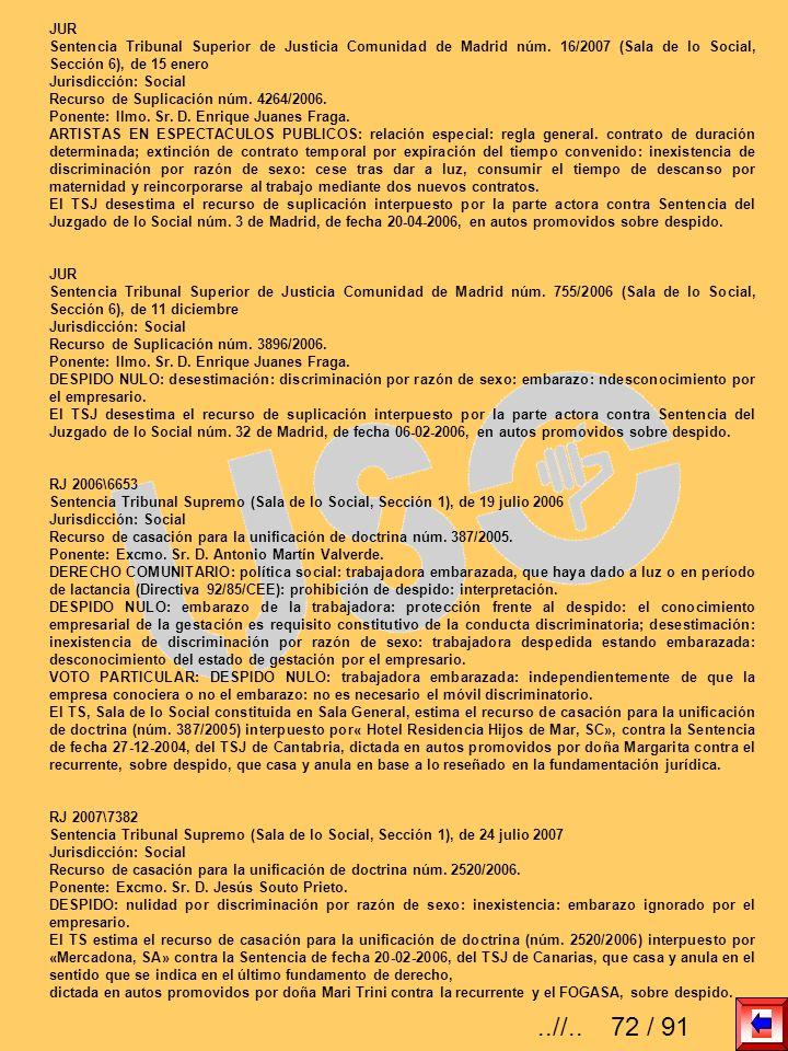 JURSentencia Tribunal Superior de Justicia Comunidad de Madrid núm. 16/2007 (Sala de lo Social, Sección 6), de 15 enero.