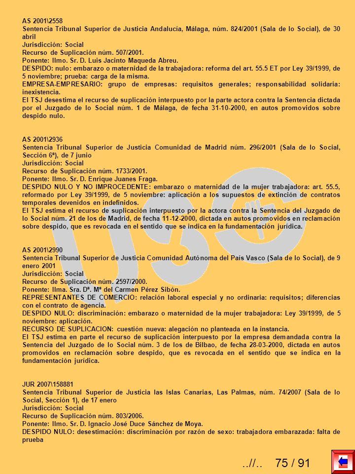 AS 2001\2558 Sentencia Tribunal Superior de Justicia Andalucía, Málaga, núm. 824/2001 (Sala de lo Social), de 30 abril.