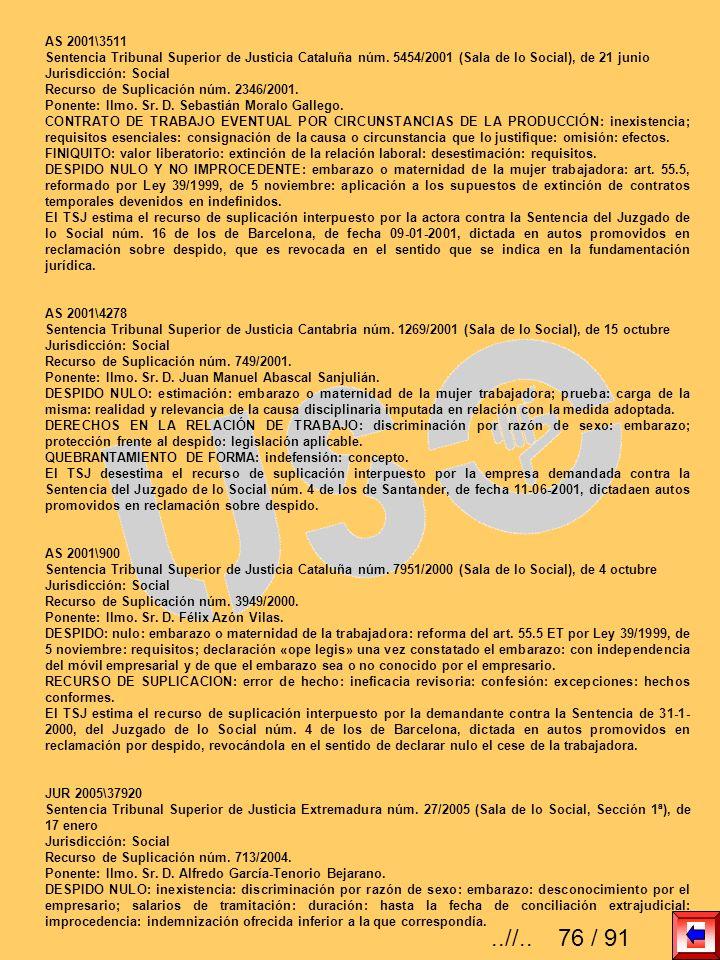 AS 2001\3511 Sentencia Tribunal Superior de Justicia Cataluña núm. 5454/2001 (Sala de lo Social), de 21 junio.