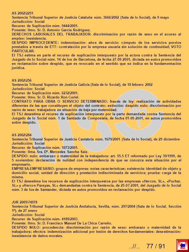 AS 2002\2251 Sentencia Tribunal Superior de Justicia Cataluña núm. 3666/2002 (Sala de lo Social), de 9 mayo.