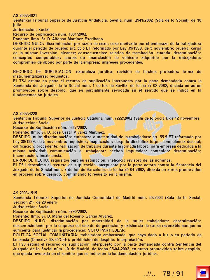 AS 2002\4021Sentencia Tribunal Superior de Justicia Andalucía, Sevilla, núm. 2941/2002 (Sala de lo Social), de 18 julio.