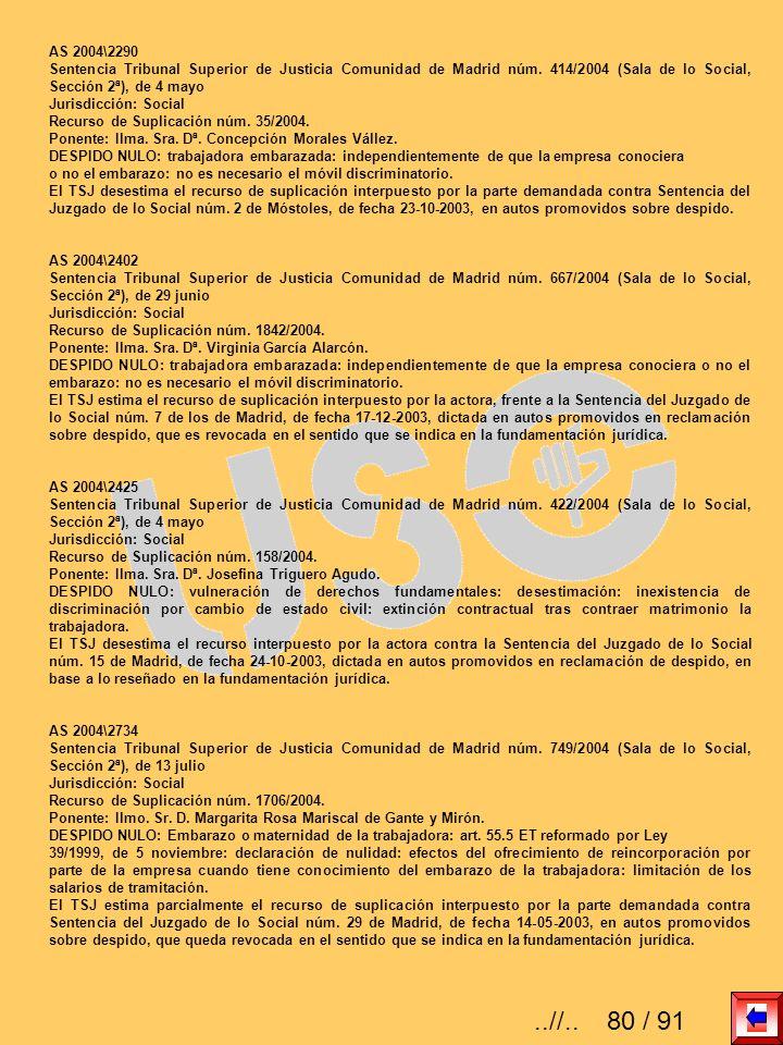 AS 2004\2290 Sentencia Tribunal Superior de Justicia Comunidad de Madrid núm. 414/2004 (Sala de lo Social, Sección 2ª), de 4 mayo.