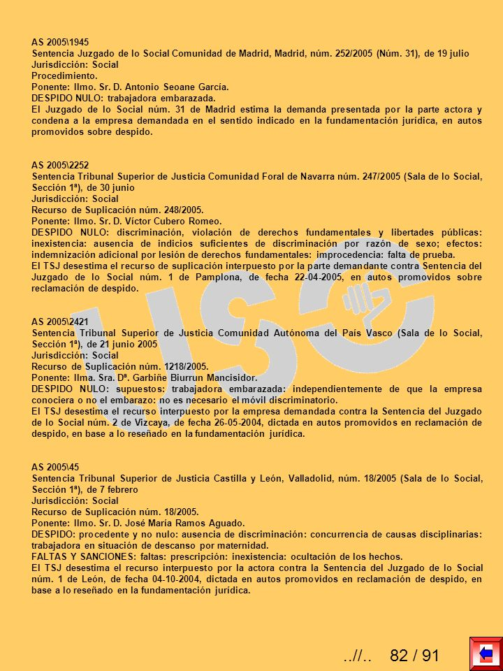 AS 2005\1945 Sentencia Juzgado de lo Social Comunidad de Madrid, Madrid, núm. 252/2005 (Núm. 31), de 19 julio.