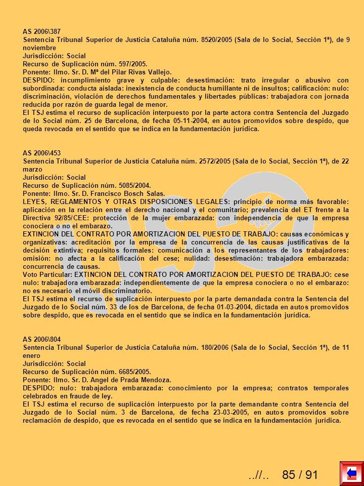 AS 2006\387 Sentencia Tribunal Superior de Justicia Cataluña núm. 8520/2005 (Sala de lo Social, Sección 1ª), de 9 noviembre.