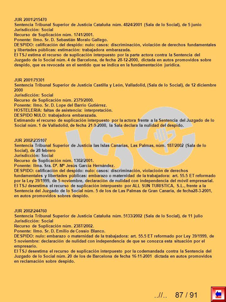 JUR 2001\215470Sentencia Tribunal Superior de Justicia Cataluña núm. 4824/2001 (Sala de lo Social), de 5 junio.