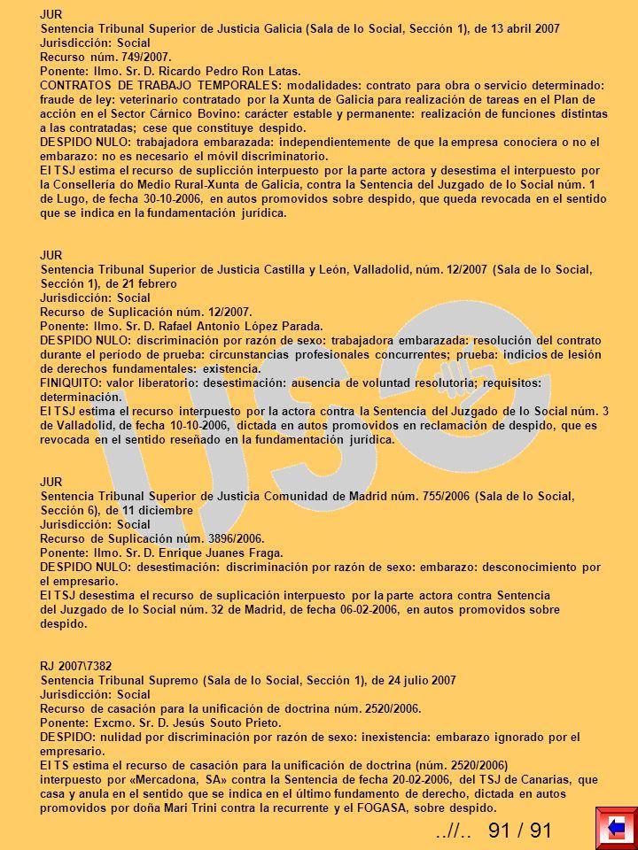 JURSentencia Tribunal Superior de Justicia Galicia (Sala de lo Social, Sección 1), de 13 abril 2007.