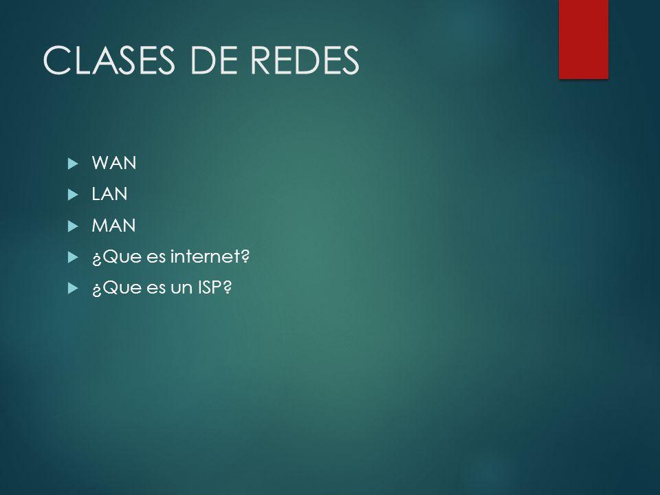 CLASES DE REDES WAN LAN MAN ¿Que es internet ¿Que es un ISP