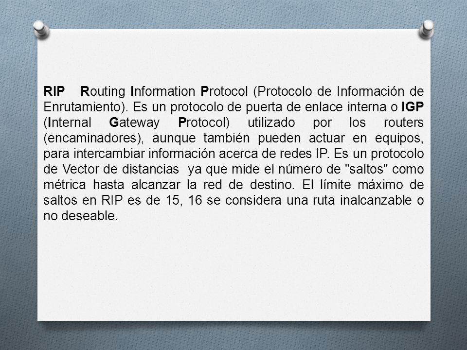 RIP Routing Information Protocol (Protocolo de Información de Enrutamiento).