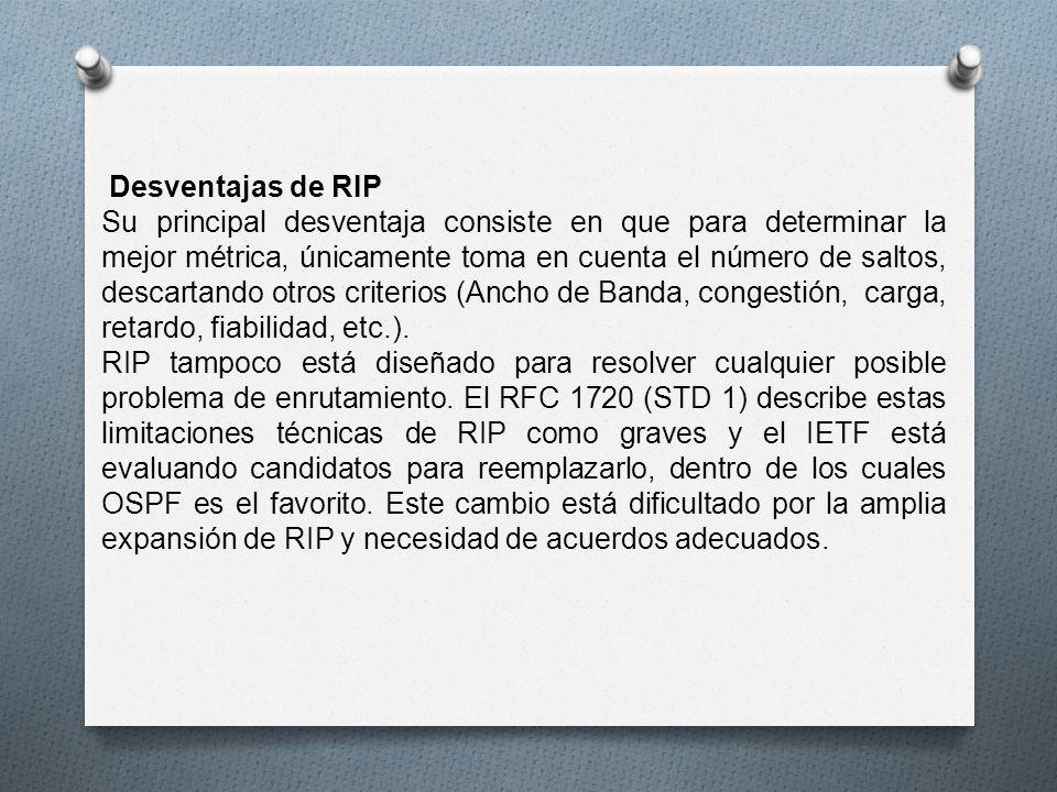Desventajas de RIP