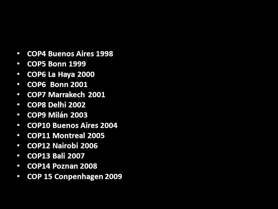 COP4 Buenos Aires 1998 COP5 Bonn 1999. COP6 La Haya 2000. COP6 Bonn 2001. COP7 Marrakech 2001. COP8 Delhi 2002.