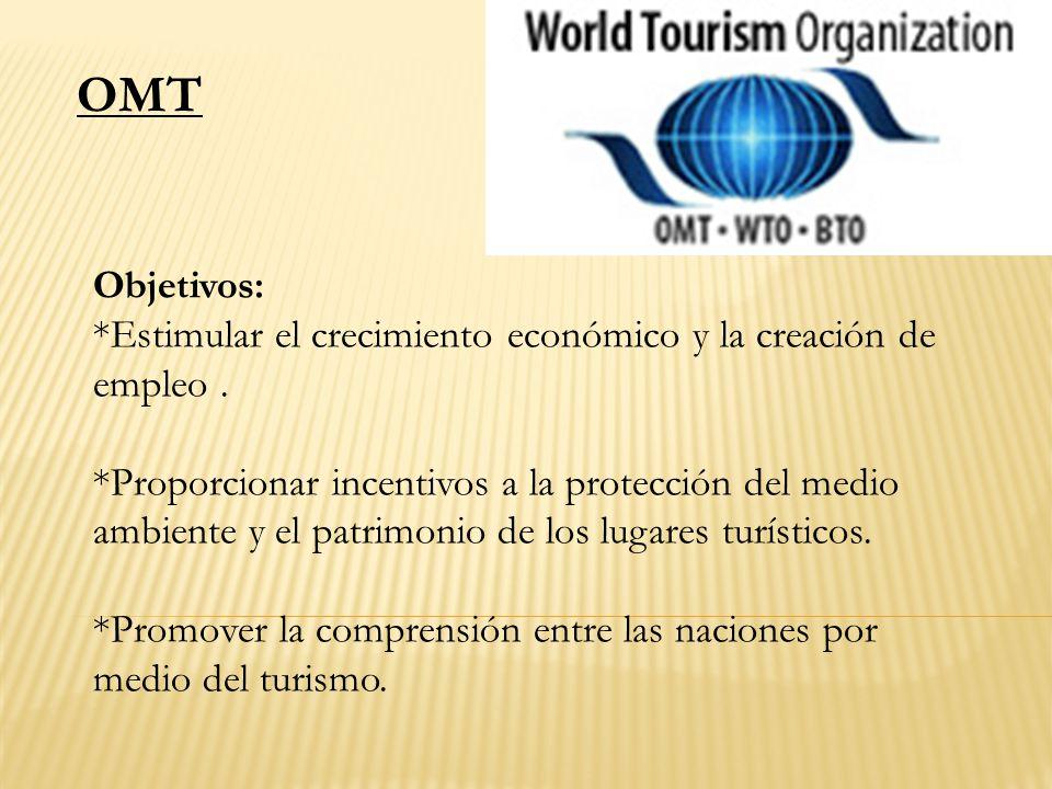 OMT Objetivos: *Estimular el crecimiento económico y la creación de empleo .