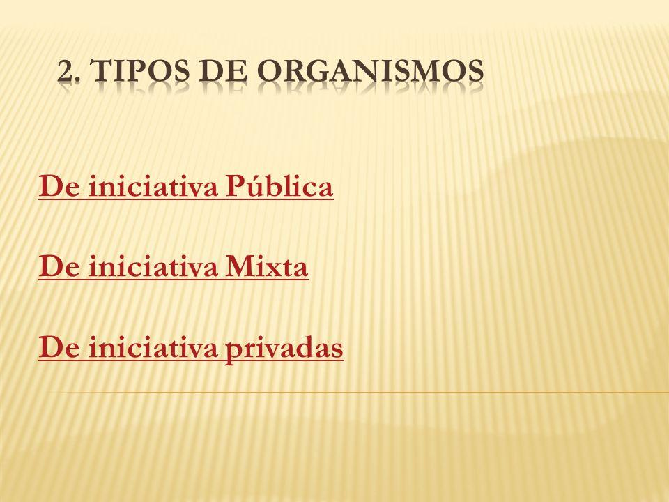 2. Tipos de organismos De iniciativa Pública De iniciativa Mixta De iniciativa privadas