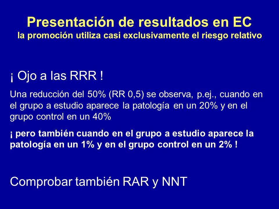 Presentación de resultados en EC la promoción utiliza casi exclusivamente el riesgo relativo