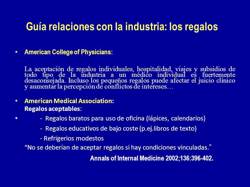 Guía relaciones con la industria: los regalos