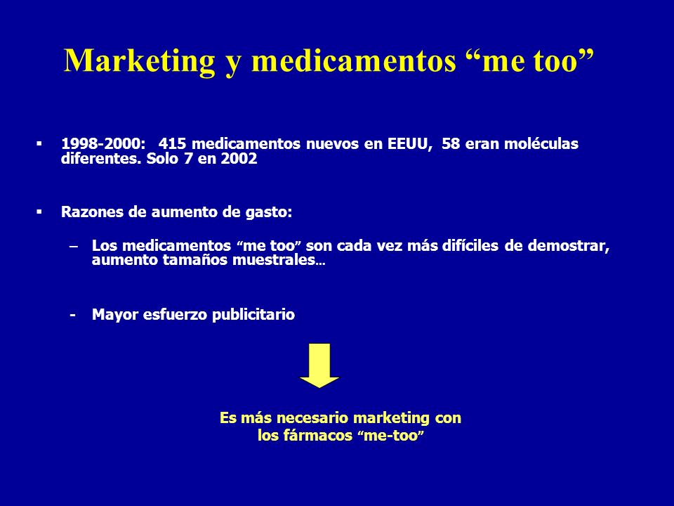 Marketing y medicamentos me too