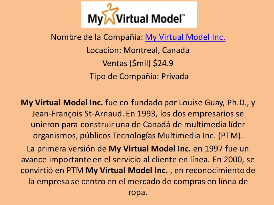 Nombre de la Compañia: My Virtual Model Inc.