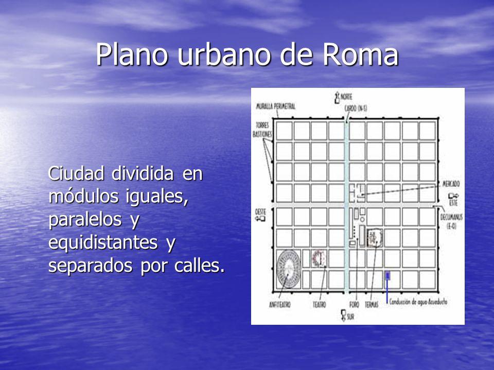 Plano urbano de Roma Ciudad dividida en módulos iguales, paralelos y equidistantes y separados por calles.