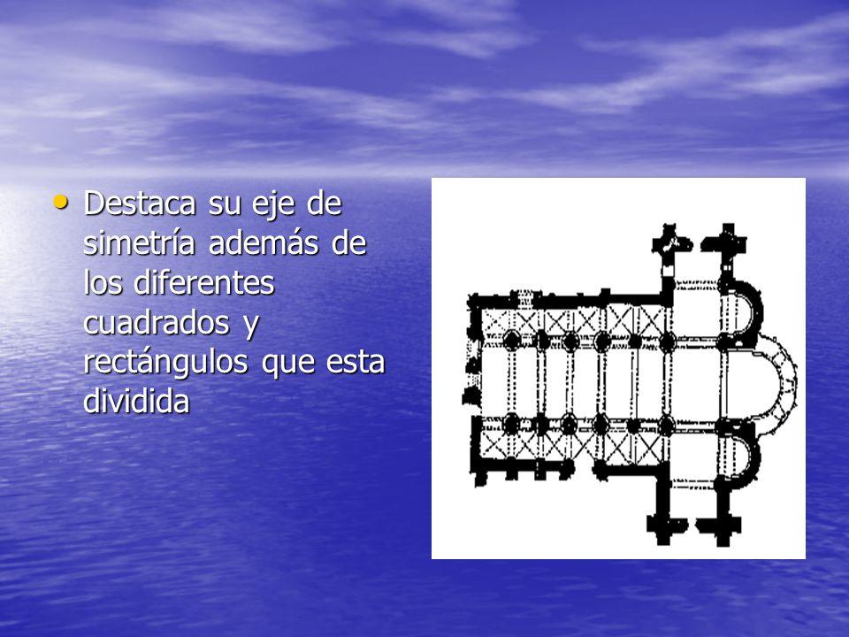 Destaca su eje de simetría además de los diferentes cuadrados y rectángulos que esta dividida