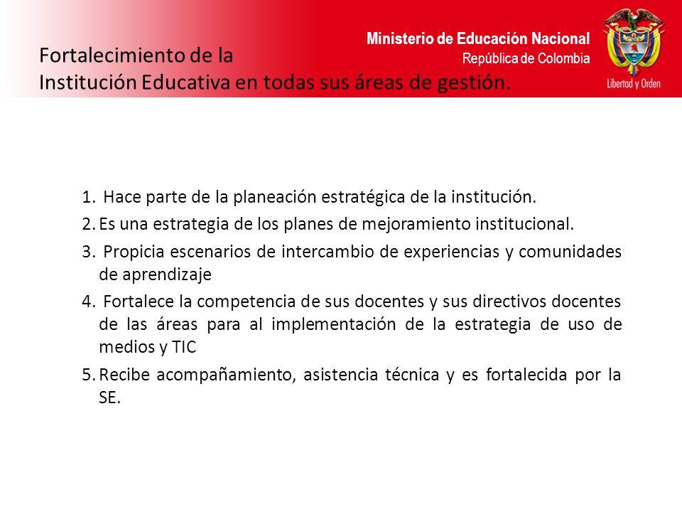 Institución Educativa en todas sus áreas de gestión.