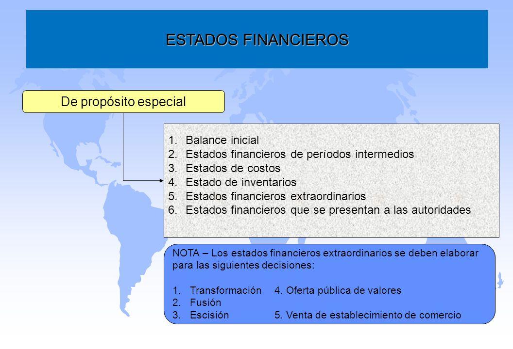 ESTADOS FINANCIEROS De propósito especial Balance inicial