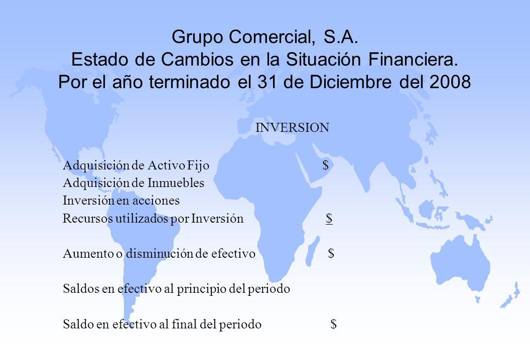 Grupo Comercial, S. A. Estado de Cambios en la Situación Financiera