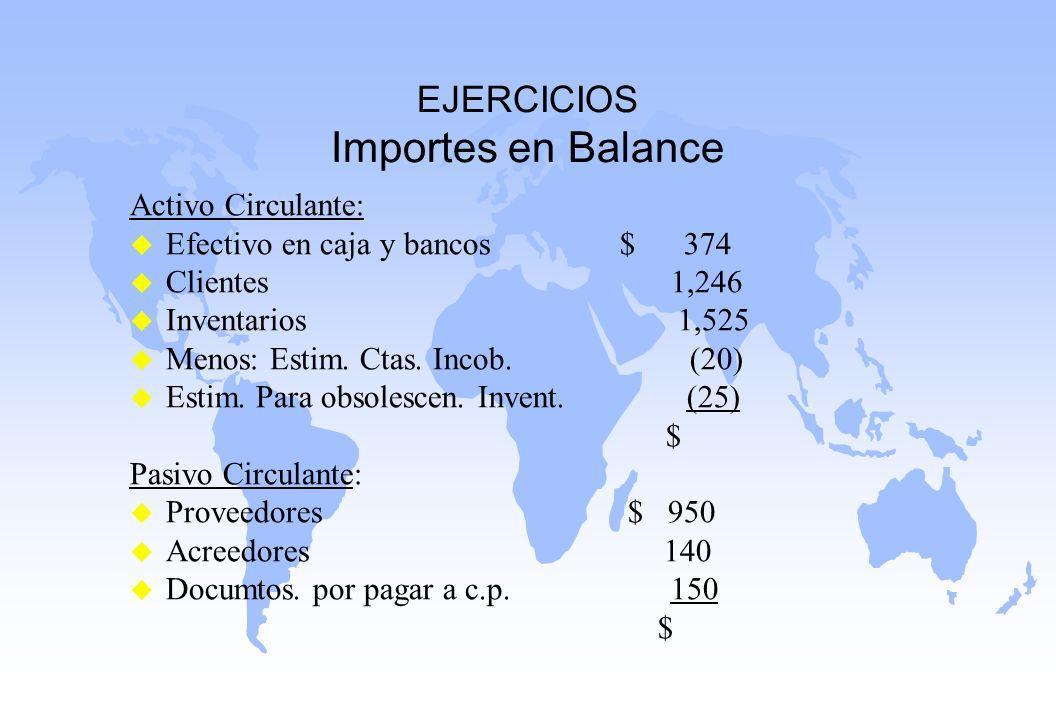 EJERCICIOS Importes en Balance