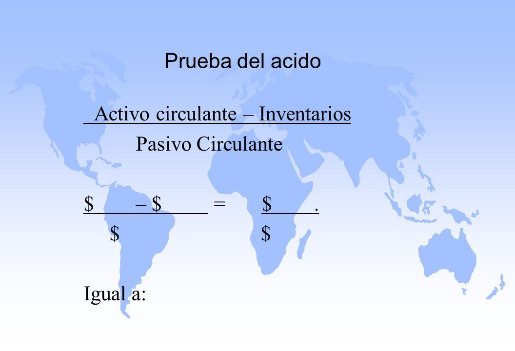 Prueba del acido Activo circulante – Inventarios. Pasivo Circulante. $ – $ = $ .