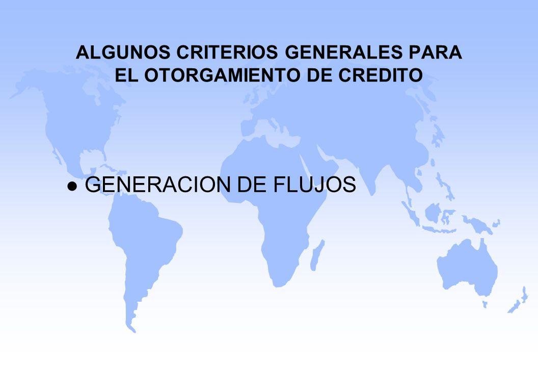 ALGUNOS CRITERIOS GENERALES PARA EL OTORGAMIENTO DE CREDITO