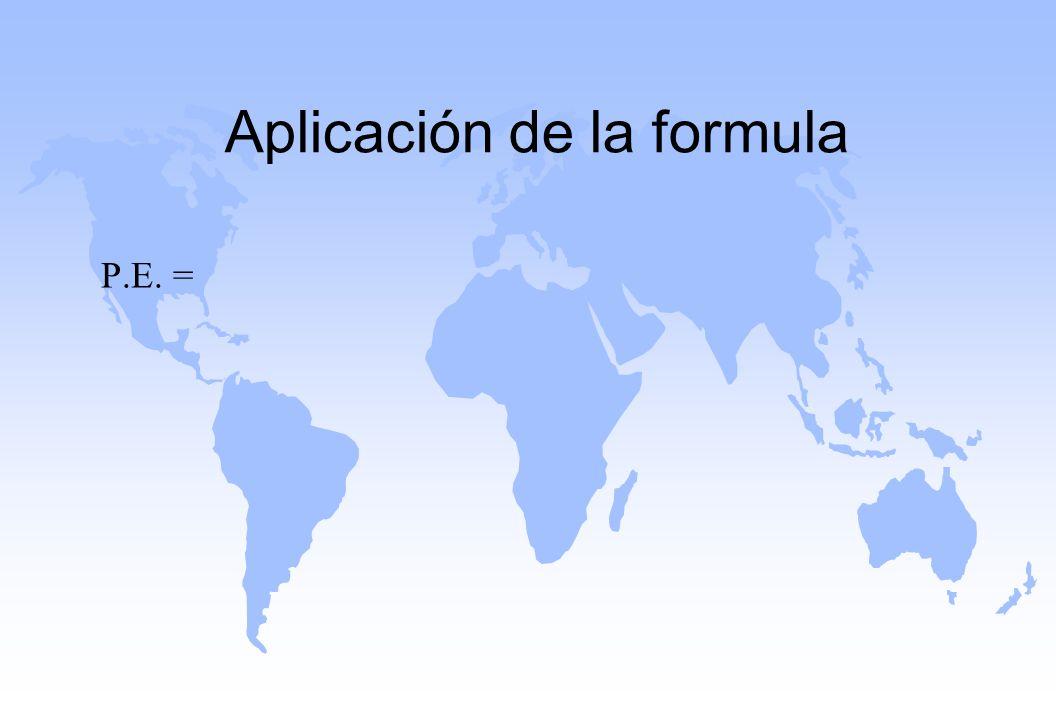 Aplicación de la formula
