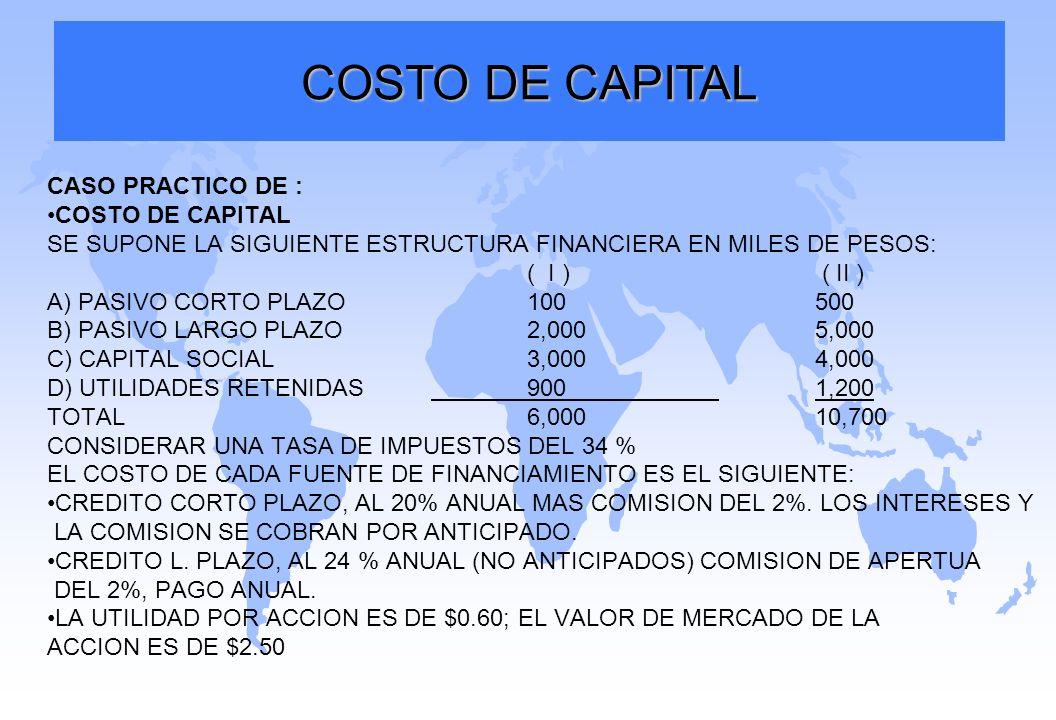 COSTO DE CAPITAL CASO PRACTICO DE : COSTO DE CAPITAL