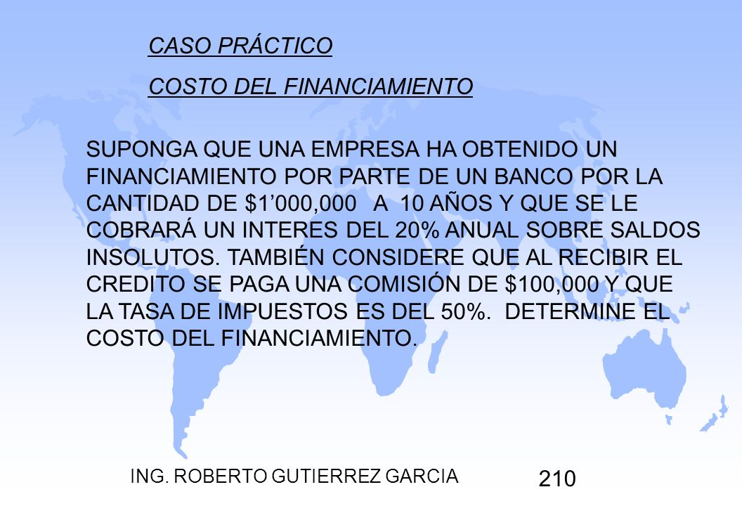COSTO DEL FINANCIAMIENTO