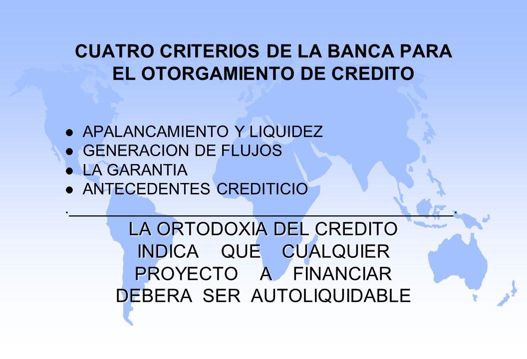 CUATRO CRITERIOS DE LA BANCA PARA EL OTORGAMIENTO DE CREDITO