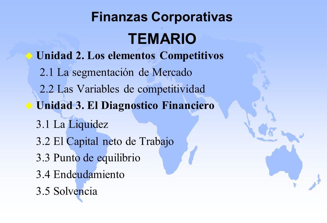 Finanzas Corporativas . TEMARIO