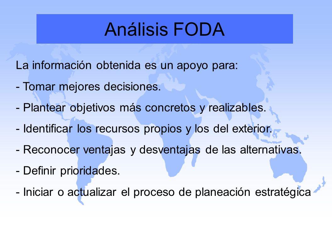 Análisis FODA La información obtenida es un apoyo para: - Tomar mejores decisiones. - Plantear objetivos más concretos y realizables.