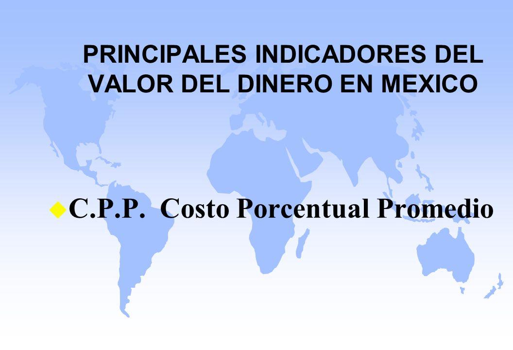 PRINCIPALES INDICADORES DEL VALOR DEL DINERO EN MEXICO