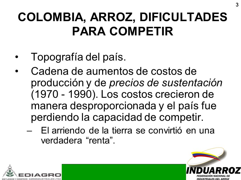COLOMBIA, ARROZ, DIFICULTADES PARA COMPETIR