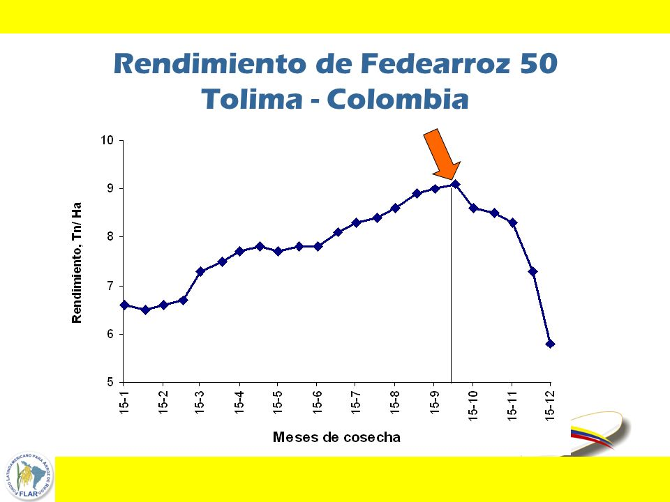 Rendimiento de Fedearroz 50 Tolima - Colombia