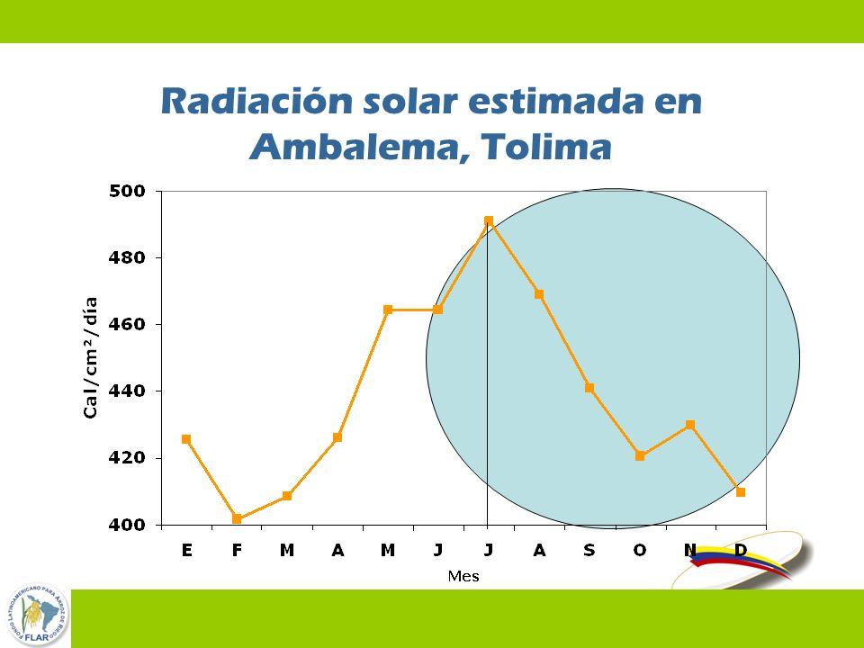 Radiación solar estimada en Ambalema, Tolima