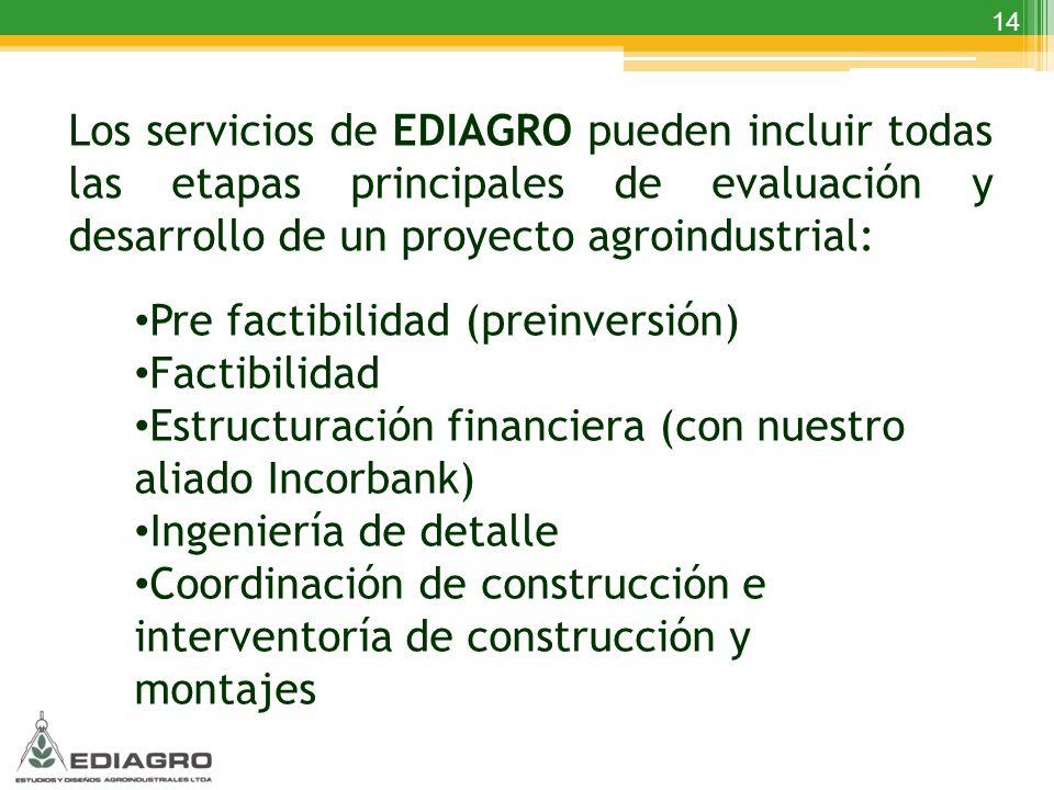 Los servicios de EDIAGRO pueden incluir todas las etapas principales de evaluación y desarrollo de un proyecto agroindustrial: