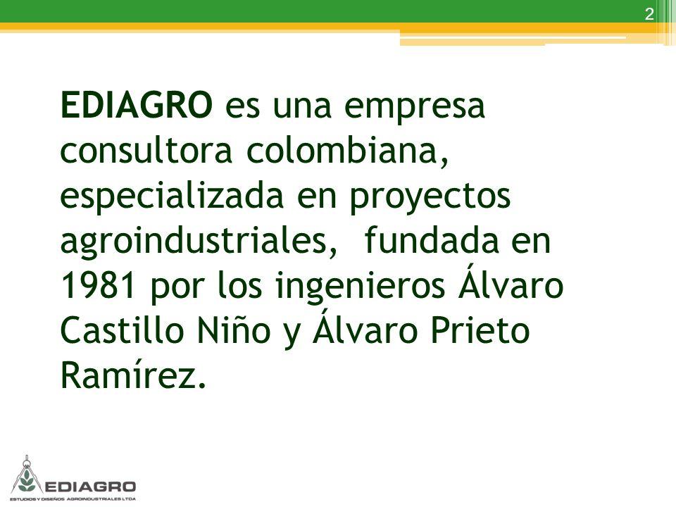 EDIAGRO es una empresa consultora colombiana, especializada en proyectos agroindustriales, fundada en 1981 por los ingenieros Álvaro Castillo Niño y Álvaro Prieto Ramírez.