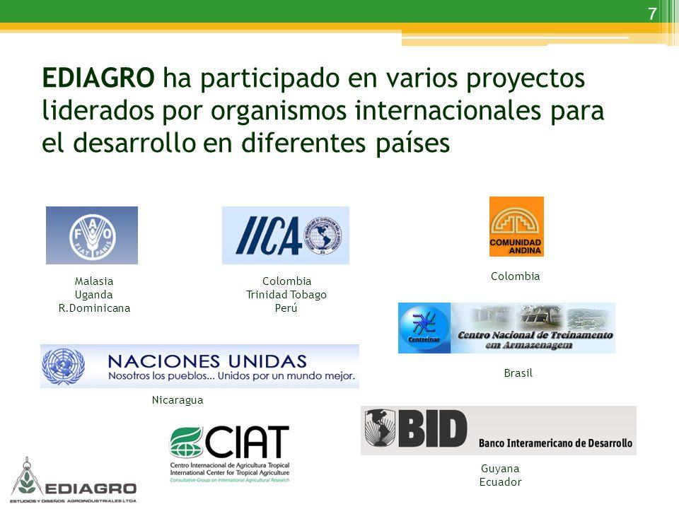 EDIAGRO ha participado en varios proyectos liderados por organismos internacionales para el desarrollo en diferentes países