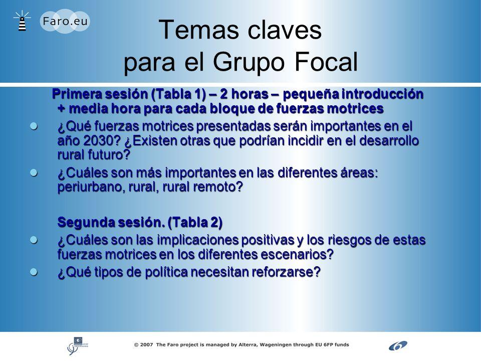 Temas claves para el Grupo Focal