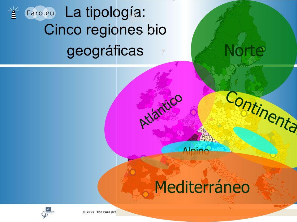 La tipología: Cinco regiones bio geográficas